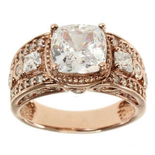 Michael Valitutti Rose Gold over Silver Cubic Zirconia Ring