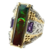 Michael Valitutti Two-tone Ammolite and Amethyst Ring