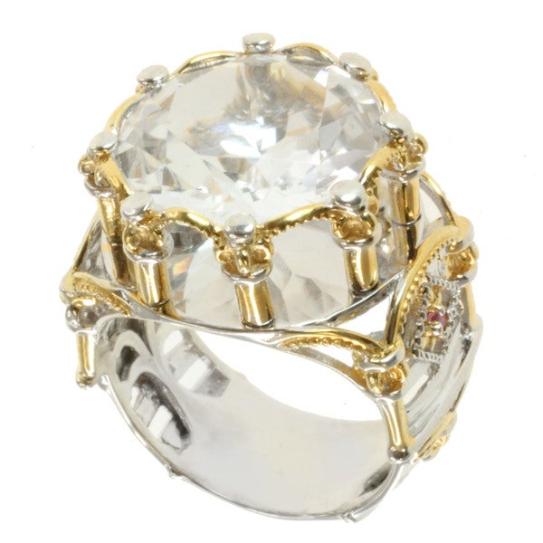 Michael Valitutti Two-tone Silver Rock Crystal and Pink Sapphire Ring