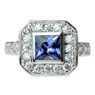 Michael Valitutti Sterling Silver Blue and White Cubic Zirconia Ring