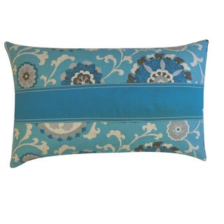 Rose Pieces Blue Floral 12x20-inch Pillow