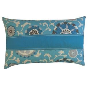Rose Pieces Blue Floral 12x20-inch Pillow