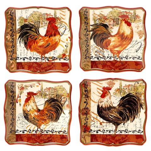 Certified International Tuscan Rooster Salad/ Dessert Plates (Set of 4)