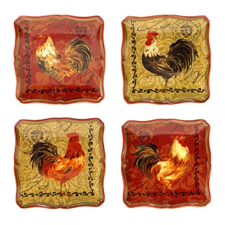 Certified International Assorted Design Tuscan Rooster 5.75-inch Canape Plate (Set of 4)