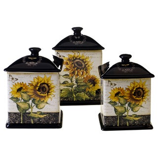 Certified International French Sunflowers Brown/Yellow Ceramic 3-piece Canister Set