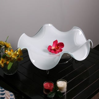 White Glass Fruit Bowl with Silver Stand