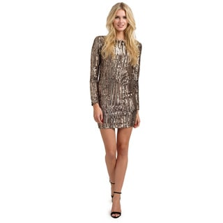 Little Mistress Women's Multicolor Heavily Embellished Sequin Long Sleeve Bodycon Dress