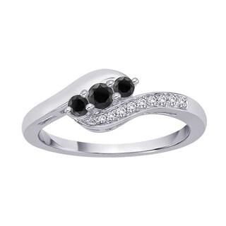 10k White Gold 1/4ct TDW Black and White Diamond Ring