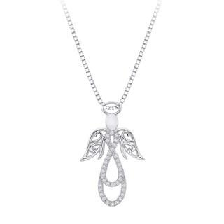 Sterling Silver 1/8ct TDW Diamond Angel Pendant Necklace (J-K, I1-I2)
