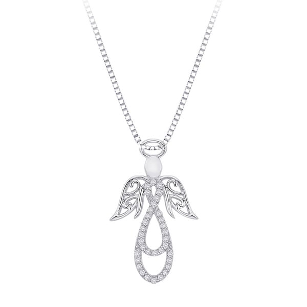Sterling Silver 1/8ct TDW Diamond Angel Pendant Necklace (J-K, I1-I2)