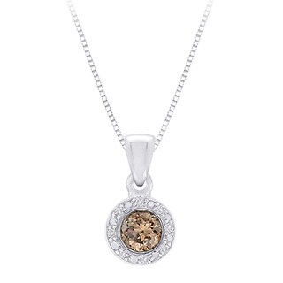10k White Gold 2/5ct Brown and White Diamond Halo Pendant Necklace