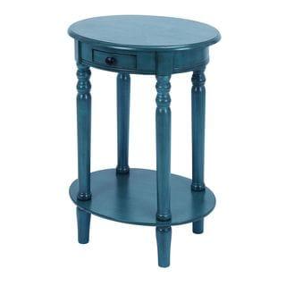 Accent Table With Mahogany Aqua Blue Wood
