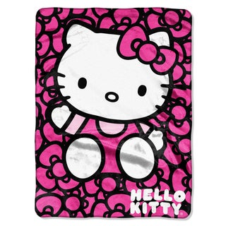 Hello Kitty Lots of Bows Royal Plush Raschel Throw Blanket