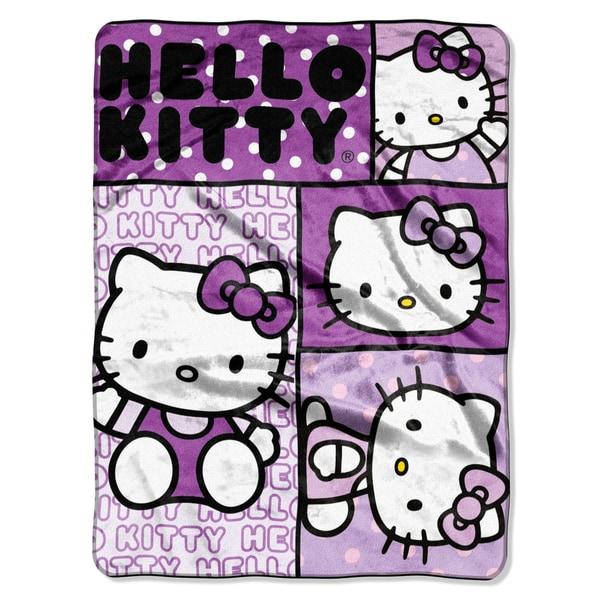 Hello Kitty Kitty Faces Royal Plush Raschel Throw Blanket