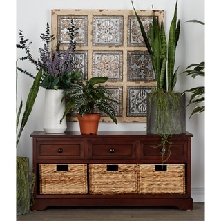 Cabinet With 4 Vertical Wicker Baskets