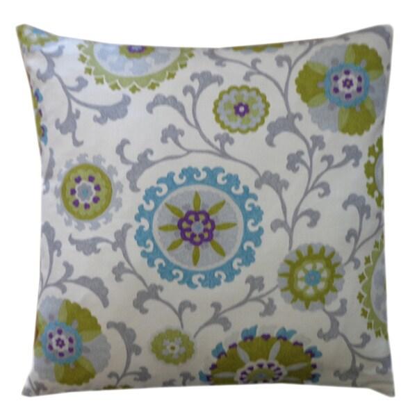 """Handmade Rose Green Floral Pillow - 20"""" x 20"""""""