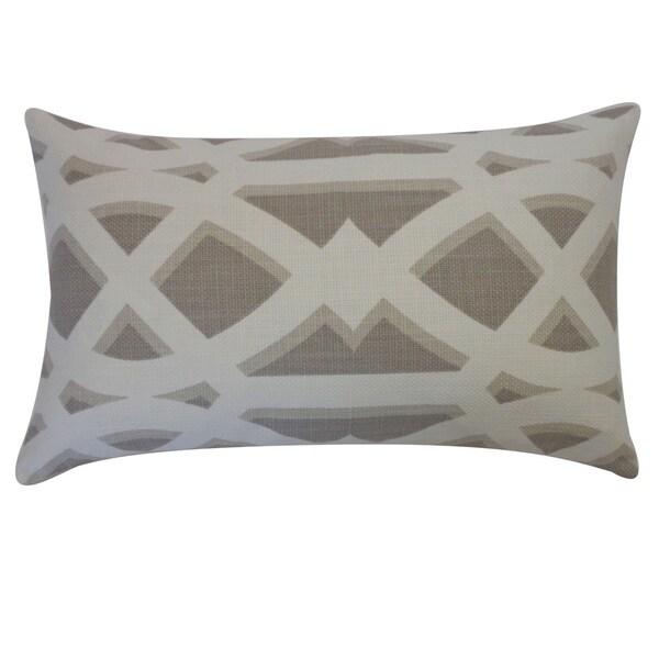 "Handmade Crossroads Tan Geometric Pillow - 12"" x 20"""