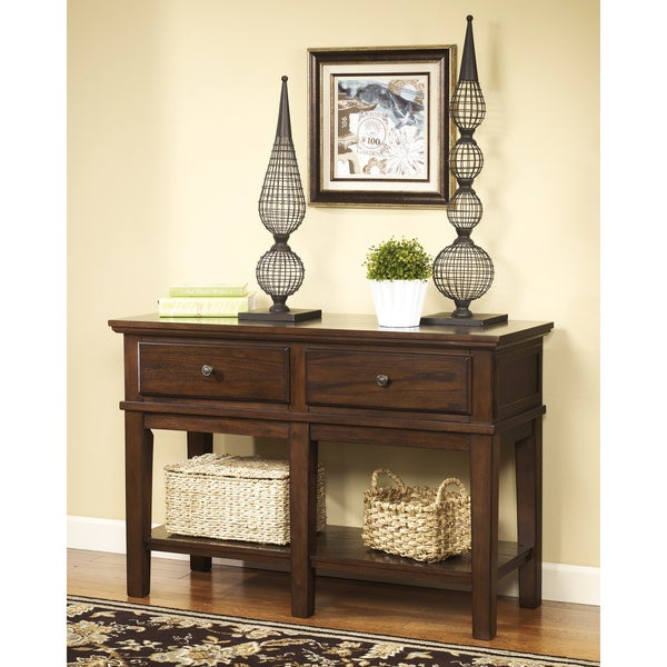 Signature Designs By Ashley Gately Medium Brown Console Sofa Table - Ashley gately coffee table