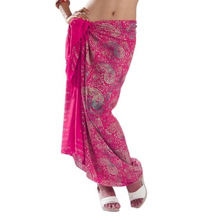 1 World Sarongs Women's Hand-crafted Hot Pink Paisley Sarong (Indonesia)