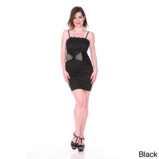 Stanzino Women's Rhinestone Bow Spaghetti Strap Party Dress