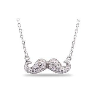 Sterling Silver Cubic Zirconia Mustache Fashion Necklace
