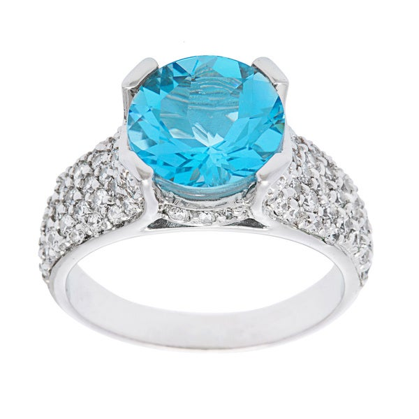 Oravo Sterling Silver Round-cut Gemstone and Cubic Zirconia Side Stone Ring