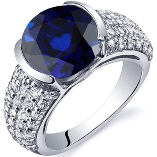 Oravo Sterling Silver Round Gemstone and Cubic Zirconia Ring