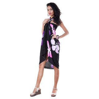 1 World Sarongs Women's Hand-crafted Black/Pink and Purple Hawaiian Floral Sarong (Indonesia)