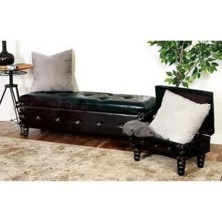 Varnished Wood Leather Bench (Set of 3)