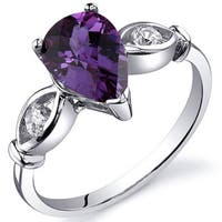 Oravo Sterling Silver Pear-cut Gemstone and Cubic Zirconia Ring