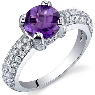 Oravo Sterling Silver Round Solitaire Gemstone Cubic Zirconia Ring