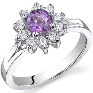 Oravo Sterling Silver Round Gemstone Cubic Zirconia Flower Ring