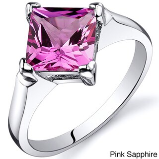 Oravo Sterling Silver Princess-cut Gemstone Solitaire Rhodium Finished Ring (More options available)