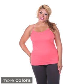 White Mark Women's Plus Size Lace Trim Cami