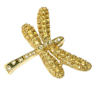 Sonia Bitton Gold Over Silver Citrine and White Zircon Dragonfly Pin