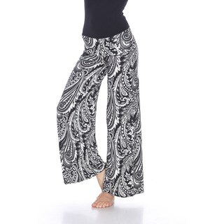 White Mark Women's Paisley Print Palazzo Pants