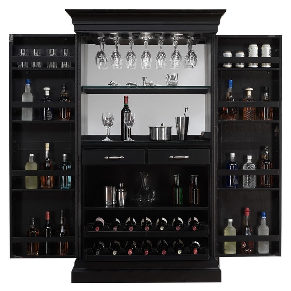 Ashley Heights Black Stain Home Bar Wine Cabinet - Free Shipping ...
