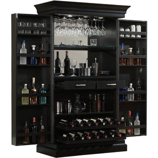 Wonderful Ashley Heights Black Stain Home Bar Wine Cabinet