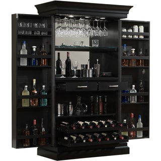 Attirant Ashley Heights Black Stain Home Bar Wine Cabinet