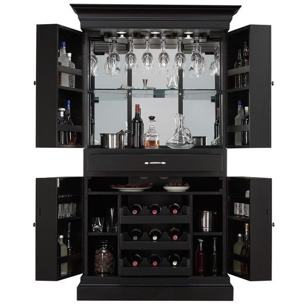 Shop Arianna Black Stain Home Bar Wine Cabinet Corner
