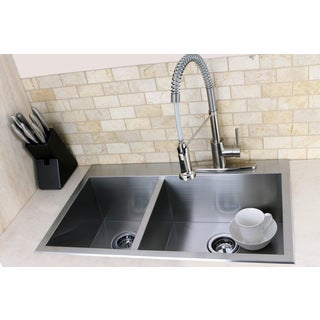 Topmount 31.5-inch Double Bowl Stainless Steel Kitchen Sink
