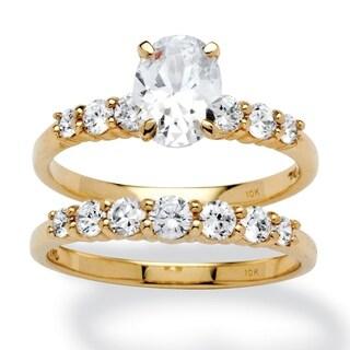 2 Piece 2 TCW Oval-Cut Cubic Zirconia Bridal Ring Set in 10k Gold Classic CZ