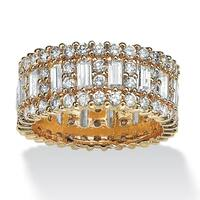 Yellow Gold-plated Cubic Zirconia Eternity- Bridal Ring - White