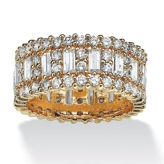 4.80 TCW Emerald-Cut Cubic Zirconia 14k Gold-Plated Eternity Ring Glam CZ