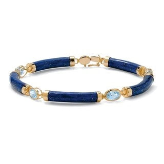 PalmBeach 4.40 TCW Genuine Lapis and Blue Topaz Link Bracelet in Golden Finish over Sterling Silver Naturalist