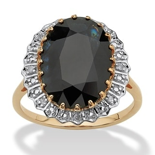 7.25 TCW Genuine Oval-Cut Midnight Blue Sapphire Ring in 10k Gold