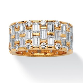 Gold-plated Cubic Zirconia Basket Weave Eternity Bridal Ring - White