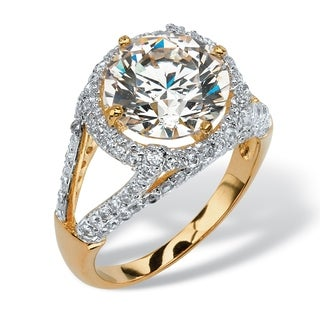 4.74 TCW Round Cubic Zirconia Halo Raised Setting Ring in 18k Gold over Sterling Silver Gl - White