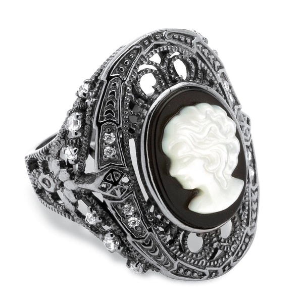 Onyx and Mother-of-Pearl Cameo and Cubic Zirconia Cocktail Ring in Black Rhodium-Plated Bo - White