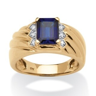 Men's 1.90 TCW Emerald-Cut Sapphire and Diamond Accent Ring in 18k Gold over Sterling Silv - Blue